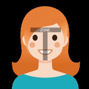 Zone T du visage
